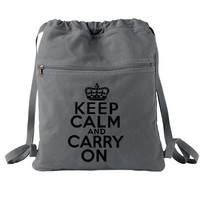 Keep Calm and Carry On Backpack Drawstring by bagnabitcreations