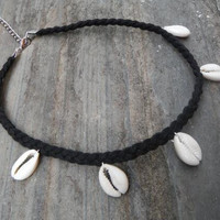 Handmade Shell and Leather Necklace Choker +Gift Box