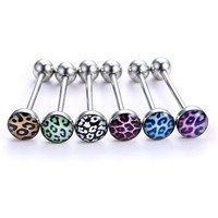 Rinhoo 6pcs (A Lot) Stainless Steel Tongue Rings Barbells Body Piercing