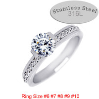 promise ring stainless steel couple silver yellow gold Color 6 7 8 9 size rhinestones setting fashion jewelry women men 83715