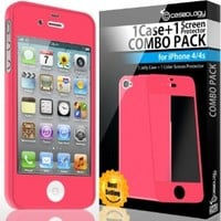 Caseology Slim Fit Flexible TPU Case and Color Screen Protector Combo for iPhone 4 [Revised Version] (Hot Pink)