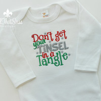 Baby Girls Christmas Bodysuit - Dont Get Your Tinsel In A Tangle - xmas - Baby Shower Gifts - Holiday - Winter - Long Sleeve - Bling