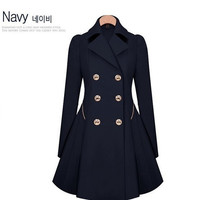 Fashion Women's Slim Flare Zipper Double-breasted Coat Navy Blue and Beige = 1956702340