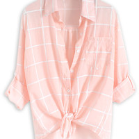 Pink and White Check Top