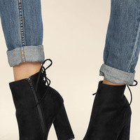 Bellissima Black Suede High Heel Ankle Booties
