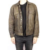 distressed brown leather bomber jacket / slim fit motorcycle biker jacket / mens size medium - large