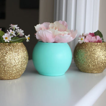 Gold and Turquoise Wedding Centerpiece, Bridal Party Centerpiece, Baby Shower Decor, Engagement Party Centerpiece, Gold Accents, Gold Decor