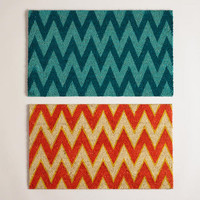 Orange and Blue Chevron Doormats | World Market
