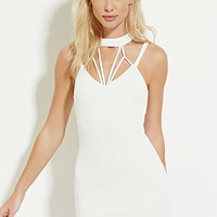 Caged High-Neck Bodycon Dress