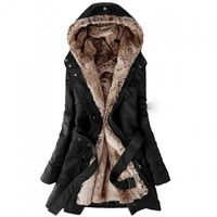 Long Sleeves Hooded Thickened Faux Fur Lined Waistband Beam Waist Pockets Korean Style Casual Women's Coat