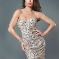 Jovani 6125 Nude/Silver Strapless Short Homecoming Dress Cocktail Sz 2 4 6