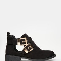 River Island | River Island Cut Out Double Buckle Flat Boots at ASOS