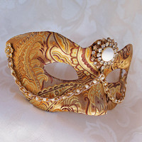 Golden Brocade and Paper Mache Masquerade Mask with Pearls
