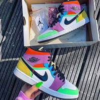 NIKE Air Jordan 1 Mid AJ1 Color stitching mid top shoes