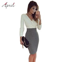 Sexy OL Long Sleeve Black and White Pencil Women Formal Dresses for Work Checked Printed Women Tunic Midi Bodycon Office Dress