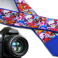 Halloween camera strap. Sugar skulls camera strap. Skulls and roses, and butterflies. DSLR  Camera Strap.