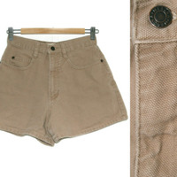 Vintage Shorts~Size Small~Waist 26~90s High Waisted Tan Beige Nude Brown Denim Jean Shorts~By Merona