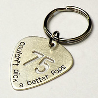 Birthday Sterling Silver Guitar Pick Keychain for a Special Musician and Couldn't Pick a Better Pops