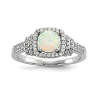 Sterling Silver Round Created White Opal and CZ Halo Ring