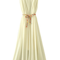 ROMWE Self-tied Drawstring Pleated Sheer White Dress