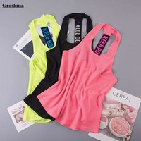 Breathable smock mesh women tank tops letters sleeveless shirt backless sexy fitness gym yoga clothing women sports running vest
