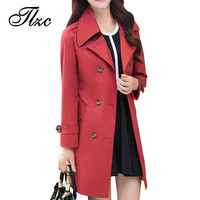 Turn-down Collar Lady Fashion Solid Trench Plus Size M-4XL Korean Style Double Breasted Epaulet Design Woman Long Clothing