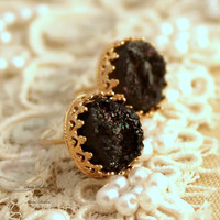 Black and Gold Druzy studs earrings Green seafoam - 14k Gold filled Crown Lace setting gemstone jewelry.