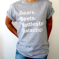 Bears Beets Battlestar Galactica T-shirt Unisex With saying gift to her, slogan tees  for teen the office tv show dwight schrute