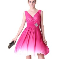Ever Pretty Double V-Neck Hot Pink Ombre Ruched Bust Homecoming Dress 03923
