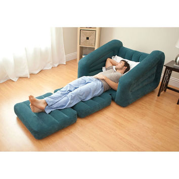 Inflatable Twin Bed/Lounge Teal Pull-out Chair Bed Indoor/Outdoor