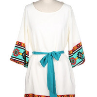 Tribal Print Edge Dress With Tie - Mint