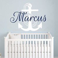 Boy Name WALL DECAL Anchor Vinyl Sticker Decals Custom Personalized Name Decals Nautical Anchor Name Decor Nursery Kids Boys Room Art x263
