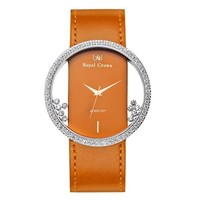 FunShop Women's Genuine Orange Leather Belt Wrist Watch with Luxury AAA Quality CZ Setting Round Hollow Out Dial and Shaking Rhinestones