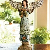 Handcrafted Polyresin Country Angel Tabletop Figurine