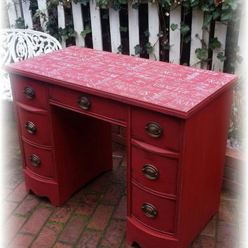 Antique red desk, french stenciled and distressed, rustic desk, red desk, shabby chic desk, country cottage, distressed vanity, red vanity
