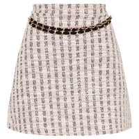 Pale Pink Boucle Chain Detail Skirt