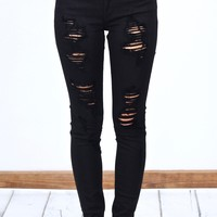 High Rise Distressed Out Skinny Jeans {Black} - Size 9/28