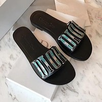 Dior CD Shoes Fashion Ladies Sandals Casual Slippers Metal Letter Logo Flat Slippers