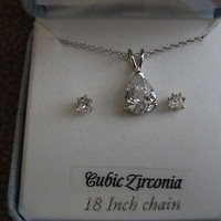 """18"""" Sterling Silver Necklace&Solitaire Cubic Zirconia  Earrings Combo Set-NIB!"""