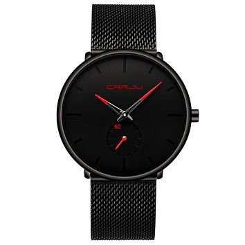 Mens Watches Ultra-Thin Minimalist Waterproof - Fashion Wrist Watch for Men Unisex Dress with Stainless Steel Mesh Band Red