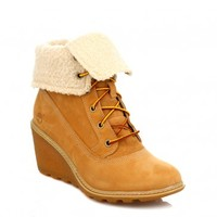 TIMBERLAND WOMENS WHEAT AMSTON ROLL TOP WEDGE LEATHER BOOTS