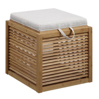 Natural Bamboo Storage Ottoman Removable Lid Multi-Functional Tray Brown