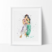 Princess Jasmine & Aladdin Watercolor Art Print
