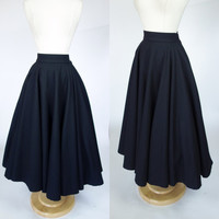 70s does 50s black wool felt circle skirt, high waist fit and flare long skirt, Small, 6 Georges Rech