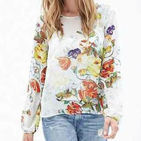 White Floral Print Back Wrapped Long-Sleeve Chiffon Blouse