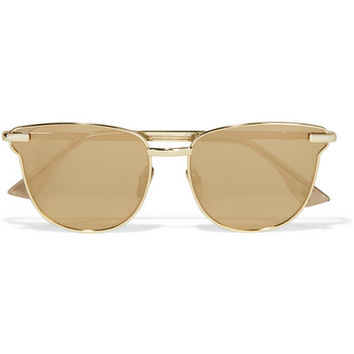 Le Specs - Pharaoh cat-eye gold-plated mirrored sunglasses