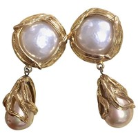 Vintage Yves Saint Laurent arabesque design extra large dangling earrings with round and teardrop white faux pearls. Rare YSL jewelry.
