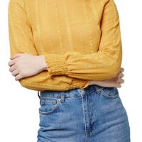 Topshop Smocked Trim Long Sleeve Top | Nordstrom