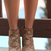 Very Volatile Ophelia Tan Wedge Booties With Crochet Overlay