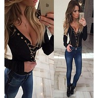 Women Bodycon Fashion Deep V-Neck Metal Chain Long Sleeve T-shirt Tops